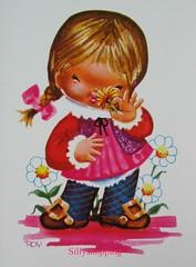 Vintage 70s Big Eyed Girl Postcard (Sillyshopping) Tags: pink cute vintage postcard 70s bigeyed
