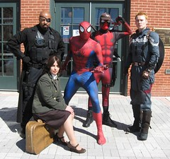 Steve Rogers, Agent Peggy Carter, Nick Fury, Spiderman and Deadpool (MorpheusBlade) Tags: spiderman captainamerica nickfury deadpool geppisentertainmentmuseum baltimoreoriolesopeningday2014 agentpeggycarter