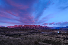 Red mountain in the morning (dave.fergy) Tags: blue red newzealand mountain water clouds sunrise river landscape dawn countryside holidays stream events canterbury nz erehwon ashburtonlakes