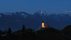 Night is special too (Dejan Hudoletnjak) Tags: mountains church night landscape nightscape slovenia jamnik gorenjska kranj lightenedchurch