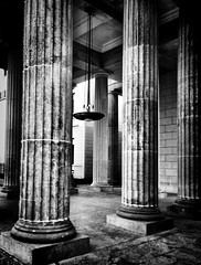 """We shape our buildings; thereafter they shape us.  Winston Churchill #BrandenburgGate, #Berlin (Oliver_D) Tags: berlin history monochrome germany deutschland blurry columns grain brandenburggate brandenburgertor unscharf korn geschichte sulen schwarzweis"
