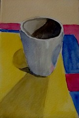 WHITE COFFEE CUP (BonnieBuchananKingry) Tags: white cup coffee contrast watercolor shadows coffeecup paintings primarycolors