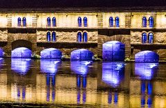 Les reflections violettes - Strasbourg. (Bouhsina Photography) Tags: light france color reflection water architecture night canon eau lumire strasbourg arcades nuit barrage petitefrance couleur arcs vauban fenetres rhin violete bouhsina 5diii ef247028ii bouhsinaphotography