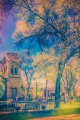 Santa Fe's Loretto Chapel (inlightful) Tags: park city trees newmexico santafe southwest church ir outdoors infrared nir falsecolor nearinfrared
