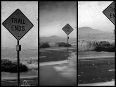trail ends (EYEsnap_Photography) Tags: blackandwhite art scenic signage trailends altamontcreek