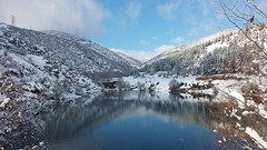 Lake and Blue (tunahanCankaya) Tags: snowflake blue winter sky cloud sun lake snow cold tree forest reflections turkey photos like line reflective recent