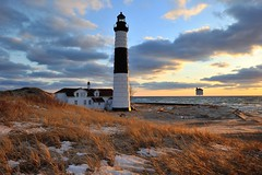 Big Sable Point Lighthouse - Ludington, Michigan (Michigan Nut) Tags: winter sunset sky usa lighthouse nature clouds landscape geotagged midwest michigan landmark lakemichigan johnmccormick bigsablepointlighthouse nikon1635mmf4gedafsvrwideanglezoomlens