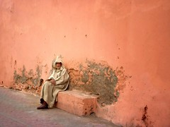 Heard you're new in town I'll show you round.. (areyarey) Tags: africa old man texture wall town sitting morocco medina marrakesh wisdom areyarey