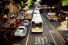Baby Bus - Tilt Shift (Eloise Claire) Tags: road city red baby bus cars traffic bokeh shift australia mini brisbane tiny queensland cbd tilt tiltshift canon24mmltse