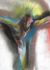 Jesus: Divine Death for Humanity. 2012 by Stephen B Whatley (Stephen B Whatley) Tags: light art dark easter death hope blood catholic peace darkness christ cross humanity god drawing pastel jesus dramatic drawings halo christian holy passion expressionism sensational dying drama crucifixion grief mankind jesuschrist calvary goodfriday lent holyweek thepassion palmsunday crownofthorns crucified pasteldrawing sonofgod blueribbonwinner christcrucified bej abigfave jesuscrucified goldstaraward stephenbwhatley artiststephenbwhatley stephenwhatley easterbystephenbwhatley christpassionimages
