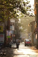 (soumitra911) Tags: street city morning people man sunshine canon temple walk cycle 7d pune soumitra inamdar soumitra911