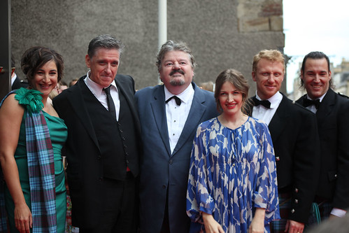 Katherin Sarafian, Craig Ferguson, Robbie Coltrane, Kelly MacDonald, Kevin McKidd and Mark Andrews on the red carpet for the European premiere of Brave at the Festival Theatre