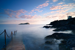 The Old Pier, North Berwick (gregor H) Tags: longexposure blue seascape water rock island mood clarity scottish wideangle seacliff northberwick secular symbolism pinkclouds gloaming bassrock beforesunrise scottland oldpier neutraldensityfilter eastlothiancoast yellowcraigbeach moningspirit