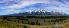 Tetons Range Panorama (wellscenephotography (ON)) Tags: blue trees summer sky panorama mountain river snake grand wyoming tetons majestic range 2012