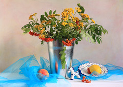 Glory Of Color (panga_ua) Tags: flowers blue stilllife art floral yellow fruit composition canon spectacular wooden bucket lemon artwork artistic availablelight peach ukraine poetic creation imagination natalie wildflowers setting arrangement tabletop bodegon tansy naturemorte panga artisticphotography rivne gzhel naturamorta artphotography tanacetum rowanberries sharpfocus fieldflowers goldenbuttons seethroughfabric tansies bluegauze whitetabletop натальяпанга nataliepanga pastelsbackground gloryofcolor openwareplate