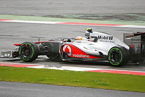 Lewis Hamilton in his McLaren F1 car at Silverstone