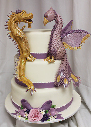Dragon Phoenix Wedding Cake with Purple Sugar Flowers
