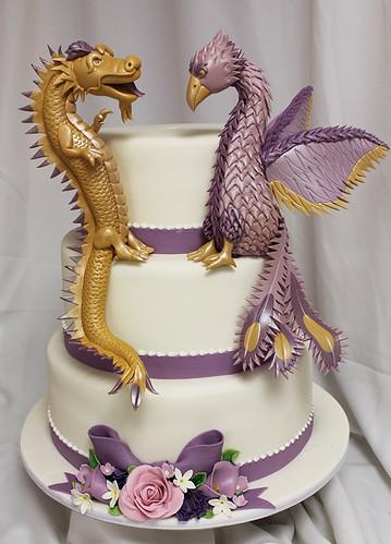 Dragon Phoenix Wedding Cake with Purple Sugar Flowers