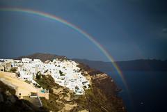 Rainbows Over Santorini (Warren Bodnaruk) Tags: landscape island rainbow mediterranean santorini greece caldera oia