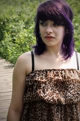 IMG_4597a (Nicole Webb) Tags: bridge girl forest hair photography nicole wooden woods pretty dress purple path leopard cheetah alternative webb edgy fantasticsunshine
