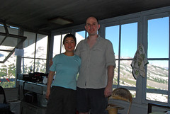 Chunlin & Mark in the Lookout (Sotosoroto) Tags: mountains washington hiking cascades mtbaker dayhike parkbutte