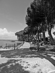 Shadows of trees (Carlo Mirante) Tags: plaza travel trees people blackandwhite italy cloud lake men bike lago italia shadows ngc fujifilm piazza lux bolsena lazio bicicletta x10 scky tuscia lakebolsena fujix10