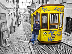 New Creative Experience in Lisbon (Ben Heine) Tags: life road street city portrait urban blackandwhite selfportrait man portugal colors yellow contrast jaune buildings wagon photography graffiti vanishingpoint casa europe do artist doors pavement lol lisboa lisbon tag report capital transport perspective samsung tram rail railway cables urbanexploration experience photoediting rails grayscale cart anonymous rue tones depth challenge ville faade oldfashioned trottoir funicular lisbonne electrico bairroalto selectivecoloring benheine samsungportugal