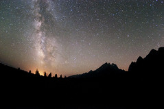 Milky Way and Meteors in Teton National Park (benalesh1985) Tags: longexposure sky mountain silhouette night stars star nationalpark nightscape jackson galaxy nightsky wyoming teton lanscape milkyway astrophotgraphy starrysky