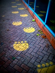 Footprints (ship-shaped and bristol fashion) Tags: cameraphone london pool yellow swimming centre footprints leisure guesswherelondon android woolwich lomoish gwl guessedbyrobbeer