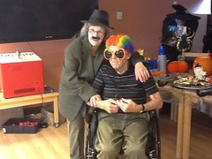 colleen and her dad (Points West Living) Tags: halloween fun good evil enjoy lloydminster spidermen