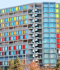 Apartment block (Gill Stafford) Tags: city england color colour architecture apartment image sheffield yorkshire centre center flats photograph housing panels coloured gllstafford