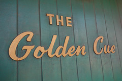 Marie's Golden Cue (k.james) Tags: chicago green pool gold golden cue eightball hustler lettering script poolhall cuestick kenthenderson signpainting montroseave northsidechicago mariesgoldencue goldencue poolhustler kjameshenderson