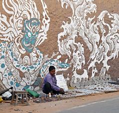Street Vendor (svenwerk) Tags: street india wall graffiti vendor pushkar indien wallpainting verkufer strase