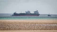 Golden Energy (MBDGE) Tags: blue beach see scotland boat sand orkney focus scenery ship wave shore oil lowtide tug operation tanker crude sts scapaflow shiptoship canon70d