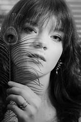 Rosa-2 (Mikko Vuorinen) Tags: portrait people blackandwhite bw woman film girl beauty face look blackwhite model noir photoshoot modeling feather rosa brunette finnish mikko 2016 strobism vuorinen mallikuvaus meviart