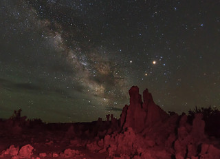 Mars, Saturn, Antares and the milky way at Mono lake, California