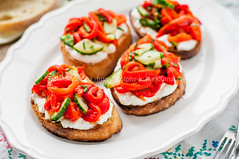 Roasted Pepper, Cucumber and Feta Bruschetta (dolphy_tv) Tags: wood morning red italy food kitchen cheese breakfast dinner bread lunch pepper cuisine healthy italian mediterranean dish starter toast cucumber rustic tasty vegetable sandwich homemade slice snack meal vegetarian brunch chopped appetizer ricotta diet oliveoil creamcheese parsley grilled goatcheese capsicum feta bellpepper curd bruschetta roasted antipasti cottagecheese sweetpepper roastedpepper brynza