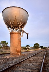 St Arnaud Railway Water Tower (phunnyfotos) Tags: phunnyfotos australia victoria vic railway railways watertower traintracks railwayline railroad heritage historic earlymorninglight hemispherical starnaud nikon d5100 nikond5100 engineering history victorianrailways sigma1020mm