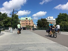 Delivering mail by bike in Malm (Steven Vance) Tags: trip travel bridge bike bicycling mail sweden delivery postal citycenter malm cargobike