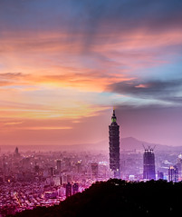 Dramatic Sky Firing  (Sharleen Chao) Tags: sunset urban panorama color building skyline architecture night canon landscape cityscape pano horizon taiwan nopeople 101  taipei taipei101      skyscaper 70200mm partlycloudy highangle  capitalcity    5dmarkiii firingclouds