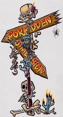 FD sign '97 (Tom Bagley) Tags: canada calgary skull spider blood candle alberta bones 1997 signpost hook shrunkenhead tombagley widowswalk handofglory cargorecords forbiddendimension canadianpunk horrorrock pelicangraphicwhite