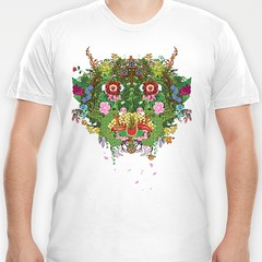 Green Man - tshirt on Society 6 (Ashley A) Tags: flowers plants art monster shirt fruit digital design interesting nintendo gaming pixel videogame sakura symmetrical cherryblossoms nes swampthing creature bizarre greenman detailed graphictee jackinthegreen gameart society6