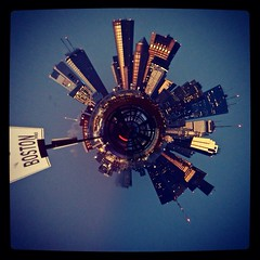 Boston (RAO816) Tags: bridge sunset sign boston skyline circle town winthrop massachusetts bean east planet cityskyline bostonmassachusetts tinyplanet bosto cityofboston planety skylineofcity