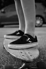 DSC_0216B+W (Sarahsaurus Rex) Tags: summer bw white black girl nine skate longboard sector vans sector9