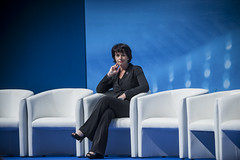 Doris Leuthard waits for her fellow panellists at the Congress Center Leipzig