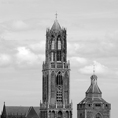 Utrecht - The Netherlands (Noutyboy) Tags: sky church netherlands monochrome eos 50mm utrecht domtoren dom nederland churches holy dome f18 domkerk kerk kerken niftyfifty 550d eos550d