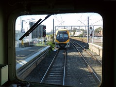 close enough? (sth475) Tags: railroad winter station train view cab sydney platform railway australia millenium stop nsw infrastructure signal m6 edi sydenham stopped cityrail signalling indication closingup mset homesignal colourlight 44class no2end doublelight nooverlap