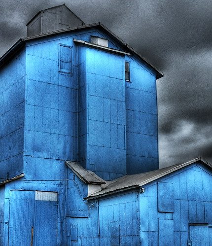 Blue Farm Building Before The Storm, Marlette, Michigan June