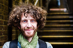 Jonathan (65/100) (drmaccon) Tags: wild london smile stairs scarf hair nikon jonathan blueeyes stranger quirky lotsofhair 100strangers d5100