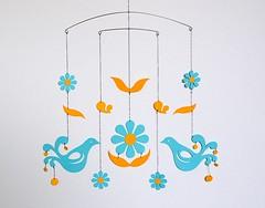 "Mobile ""Friend ship"" (hiramariya) Tags: bird art mobile paper toy cutting papercraft papertoys"